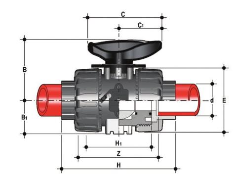 DUAL BLOCK® regulating ball valve with female ends for socket welding, metric series Dimensioned drawing 2D