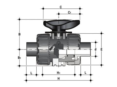 DUAL BLOCK® regulating ball valve with male ends for socket welding, metric series Dimensioned drawing 2D