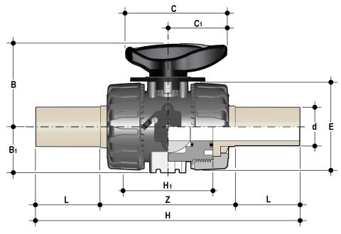 DUAL BLOCK® regulating ball valve with long spigot male ends in PP-H for butt welding or electrofusion (CVDM) Dimensioned drawing 2D