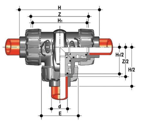 DUAL BLOCK® 3-way ball valve with female ends for socket welding, metric series. T-port ball Dimensioned drawing 2D
