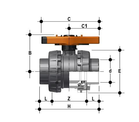 Easyfit 2-way ball valve with female ends for solvent welding, metric series Dimensioned drawing 2D