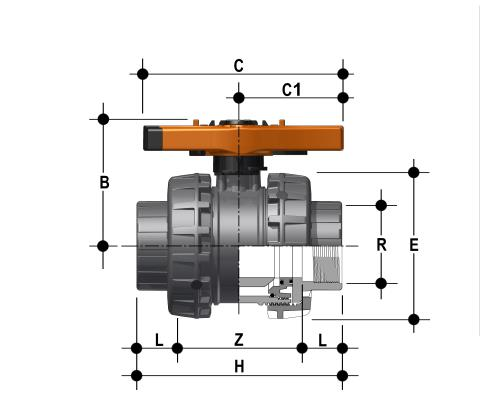 Easyfit 2-way ball valve with BSP threaded female ends Dimensioned drawing 2D