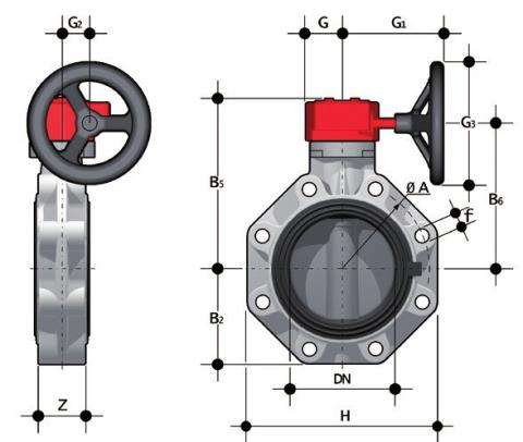 Gearbox operated Butterfly valve, version Lug ANSI Dimensioned drawing 2D