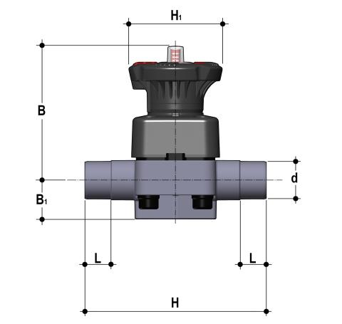 DIALOCK® diaphragm valve with male ends for socket welding, metric series Dimensioned drawing 2D
