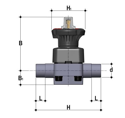 DIALOCK® diaphragm valve with stroke limiter and male ends for socket welding, metric series Dimensioned drawing 2D