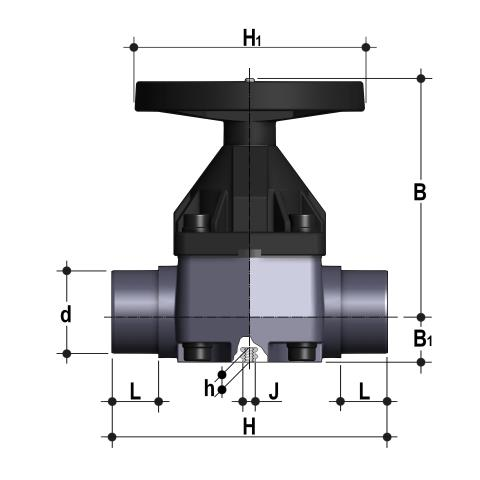 Diaphragm valve with male ends for solvent welding, metric series Dimensioned drawing 2D