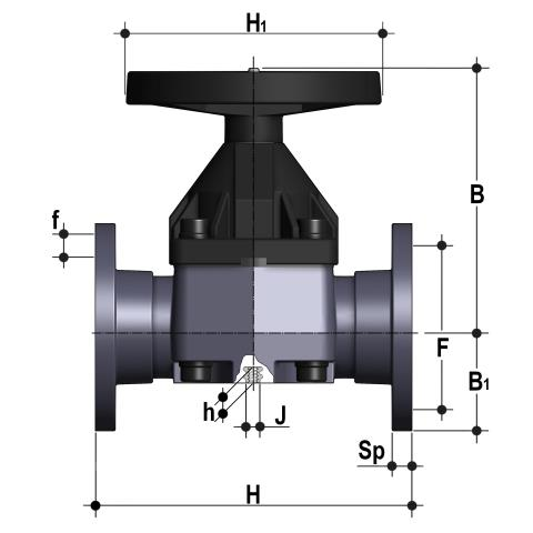 Diaphragm valve with fixed flanges, drilled ANSI B16.5 cl. 150 #FF Dimensioned drawing 2D