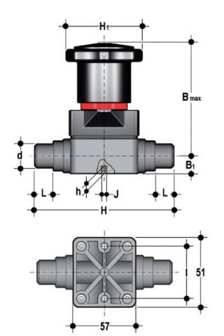 Compact diaphragm valve with male ends for socket welding, metric series Dimensioned drawing 2D