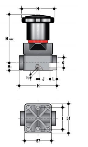 Compact diaphragm valve with female ends for socket welding, metric series Dimensioned drawing 2D