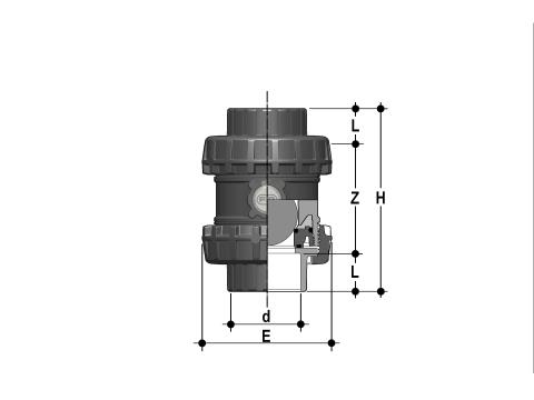 Easyfit ball check valve with female ends for solvent welding, ASTM series Dimensioned drawing 2D