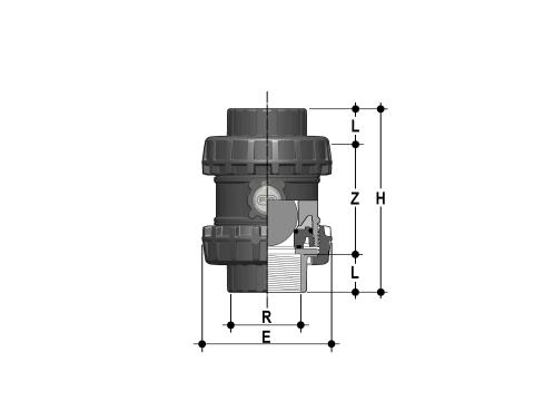 Easyfit ball check valve with female ends, NPT thread Dimensioned drawing 2D