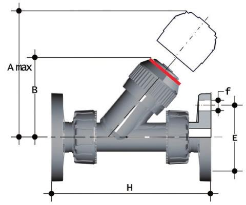 Check valve with fixed flanges, drilled ANSI B16.5 cl.150 FF Dimensioned drawing 2D