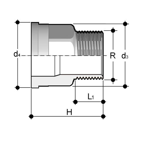 Union end in A316L stainless steel with male BSP thread Q/BRX Dimensioned drawing 2D
