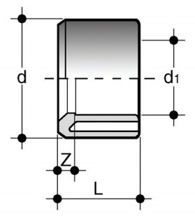 Reducing bush with solvent weld spigot (d) and solvent weld socket (d1 reduced) (fig. B) DLV(B) Dimensioned drawing 2D