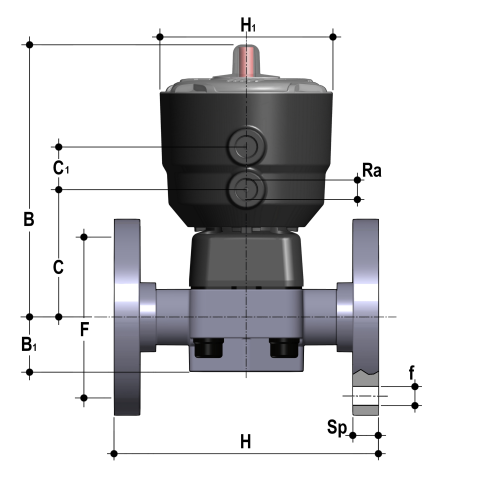 Pneumatically actuated diaphragm valve Double-Acting, with flanged monolithic body, drilled ANSI B16.5 cl. 150 FF PVC-C Dimensioned drawing 2D