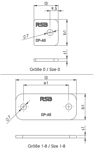 Tube clamps Series A (DIN 3015, Part 1), Cover plate DP Dimensional drawing 2D
