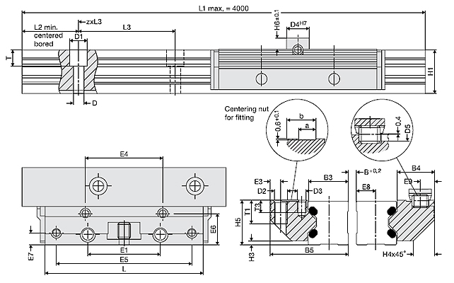 Type FDB, Aluminium Roller Guide, Low cost, Pair of roller shoes + single rail pairs Dimensional drawing 2D