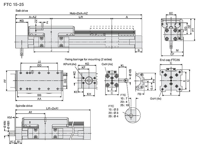 Linear Modules, Type FTC, FTC 15-25 Dimensional drawing 2D