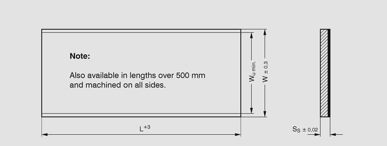 DU-B Strip lengths - metric Dimensional drawing 2D