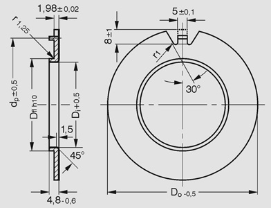 DP4 flanged thrust washers - metric Dimensional drawing 2D
