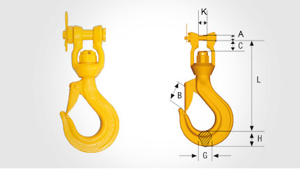 Clevis Swivel Hook LKNG-16-8 Dimensional drawing 2D
