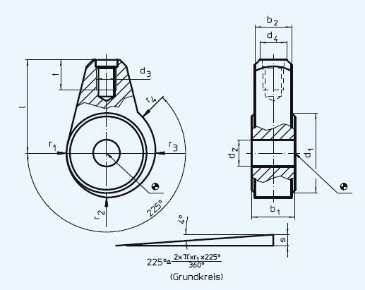 EH 23410.0210 Excentric Clamping Modules with shaft location Parameter drawing 2D