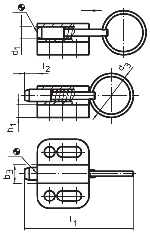 EH 22110.0304 Index Plungers with mounting flange, horizontal, with pull-ring, no locking Parameter drawing 2D