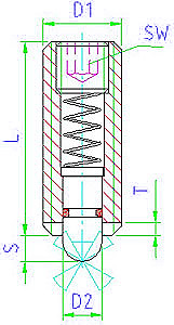 EH 22060.0048 Spring Plungers Parameter drawing 2D