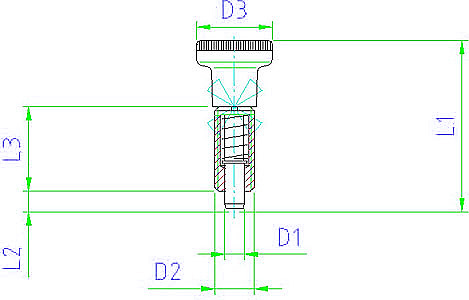 EH 22120.0045 Index Plungers, fully threaded body, with knob Parameter drawing 2D