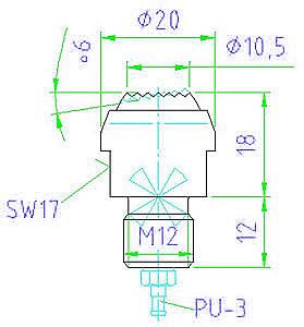 EH 22800.0220 Positioning Sensors, pneumatic self-aligning, with plug-in nipple Parameter drawing 2D