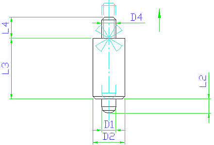 EH 22120.0825 Index Plungers, weldable, without knob Parameter drawing 2D