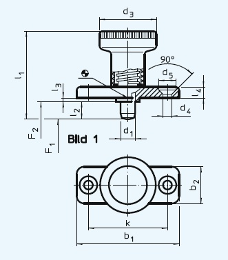 EH 22120.0926 Index Plungers, with mounting flange, without locking Parameter drawing 2D