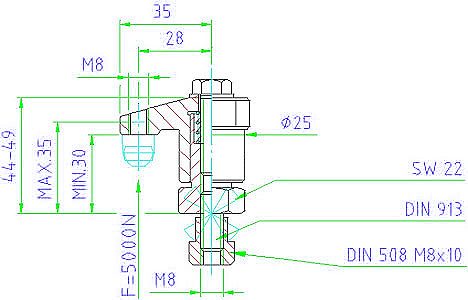 EH 23310.0025 Down-Thrust Clamps with clamping screw, size 25 Parameter drawing 2D
