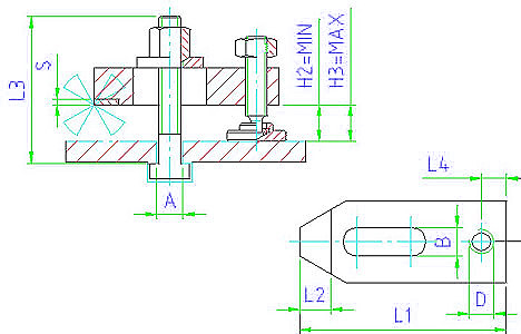 EH 23190.0015 Plain Clamps, with soft face, with adjusting screw and clamping bolt Parameter drawing 2D