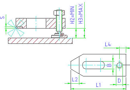 EH 23190.0011 Plain Clamps, with soft face, only with adjusting screw Parameter drawing 2D