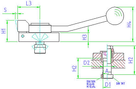 EH 23210.0102 Down-hold clamps, with cranked clamping lever,  V-clamping jaw, clamping to the right Parameter drawing 2D
