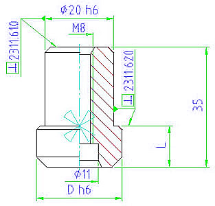EH 23110.0610 Centering Pins, recessed Parameter drawing 2D