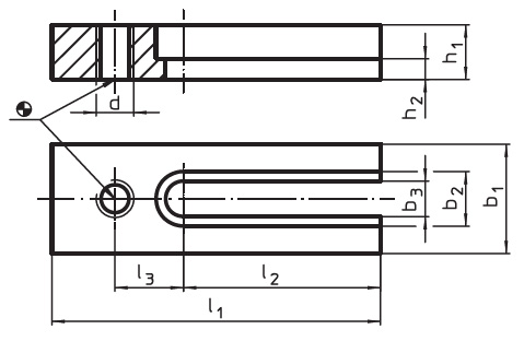 EH 23210.0730 Holding Plates for down-hold clamps Parameter drawing 2D
