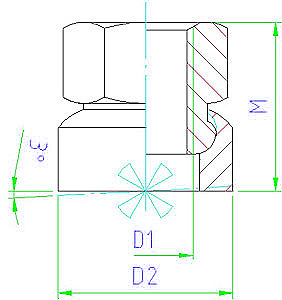 EH 23080.0508 Collar Nuts with spherical seat Parameter drawing 2D