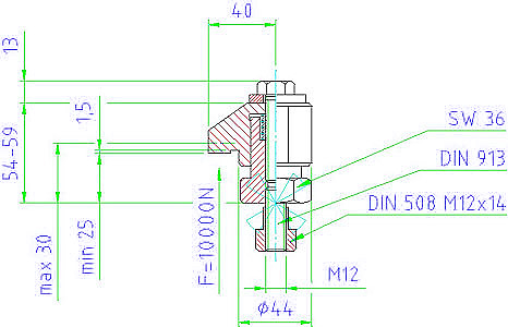 EH 23310.0035 Down-Thrust Clamps with clamping screw, size 44x30 Parameter drawing 2D