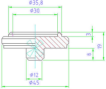 EH 23470.0170 Centering plate Parameter drawing 2D