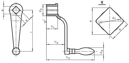 EH 24330.0310 Crank Handles, DIN 468 goose-neck form with square end DIN 79, with mounted machine handle EH 24450., DIN 39 form F Parameter drawing 2D