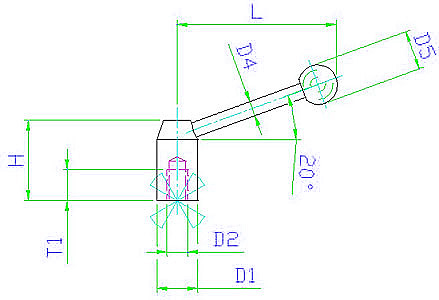 EH 24430.0022 Clamping Levers, with female thread Parameter drawing 2D