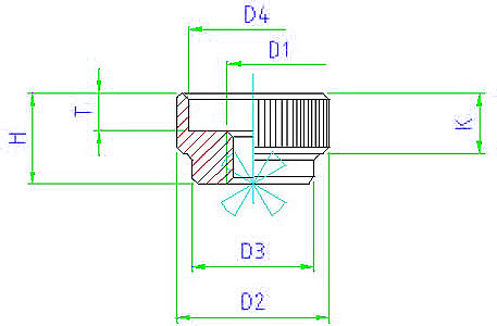 EH 24480.0005 Knurled Nuts, DIN 6303, without pin hole, form A Parameter drawing 2D