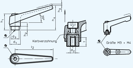 EH 24400.0032 Adjustable Clamping Levers, with female thread Parameter drawing 2D