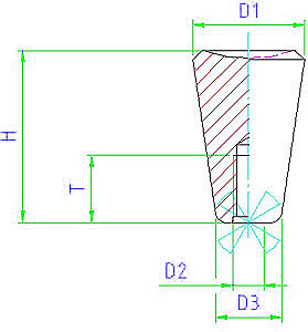 EH 24550.0010 Conical Knobs Parameter drawing 2D