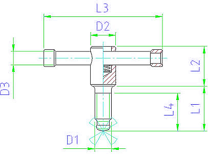 EH 24500.0008 Tommy Screws, with moveable pin, without thrust pad, DIN 6306 Parameter drawing 2D