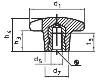 EH 24640.0220 Palm Grips with threaded bushing, form K Parameter drawing 2D