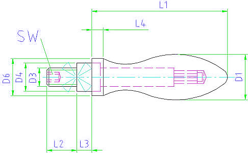 EH 24460.0116 Rotating Machine Handles, DIN 98, with male thread lug, form E Parameter drawing 2D