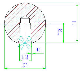 EH 24560.0216 Ball Knobs, DIN 319, with taper bore, form M Parameter drawing 2D